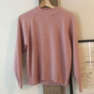 Vintage On Trend Baby Pink Mock Neck Sweater!